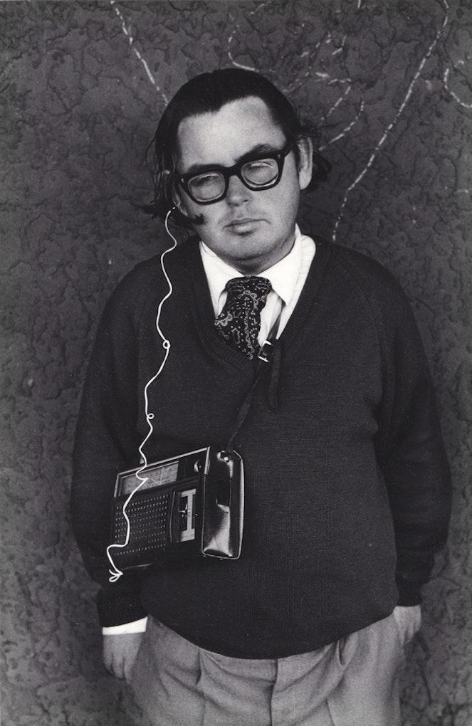 Glenn BuschMan with a transistor radio1973