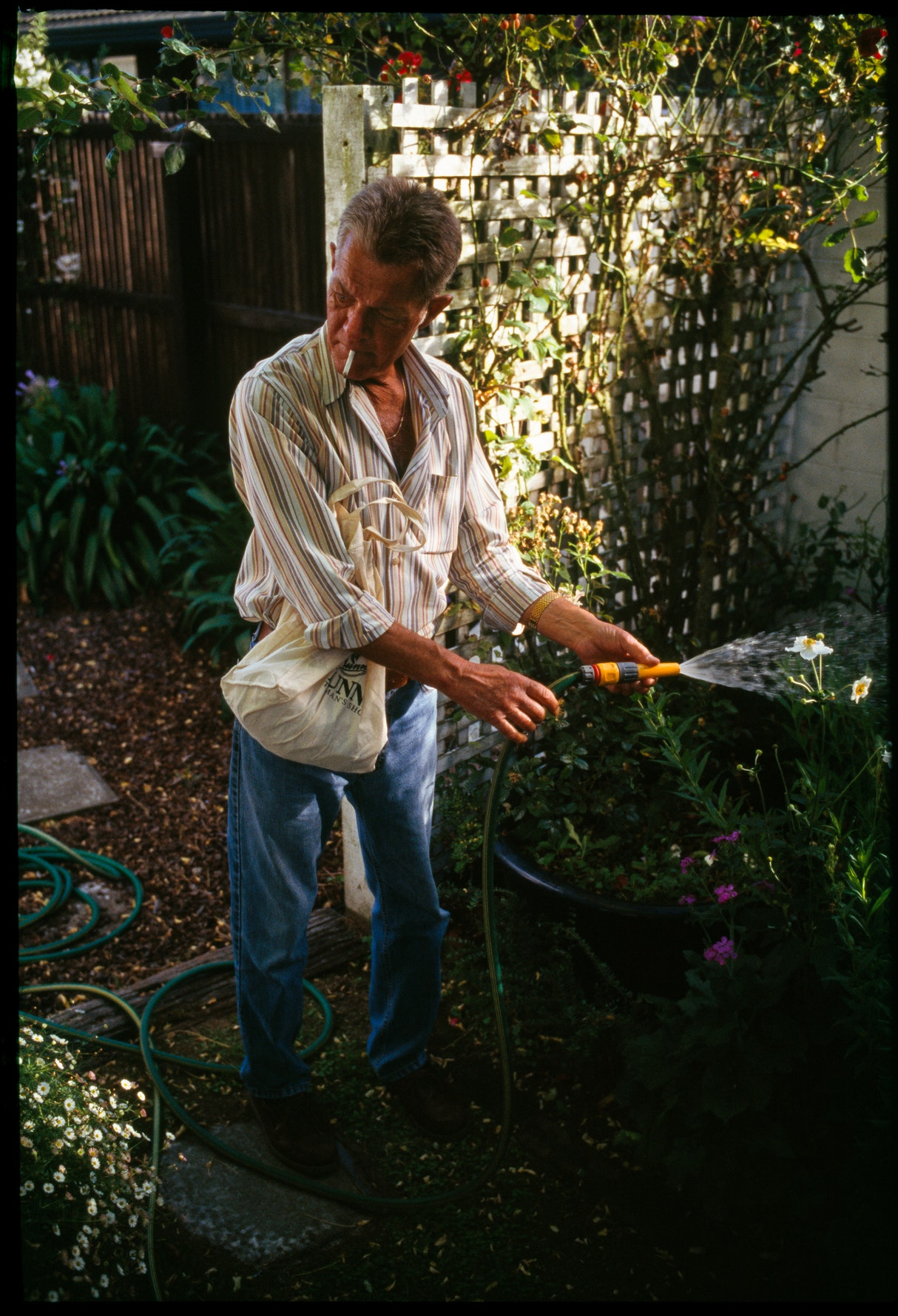 Watering Mum's Garden While She Stays In Isolation, 2006.