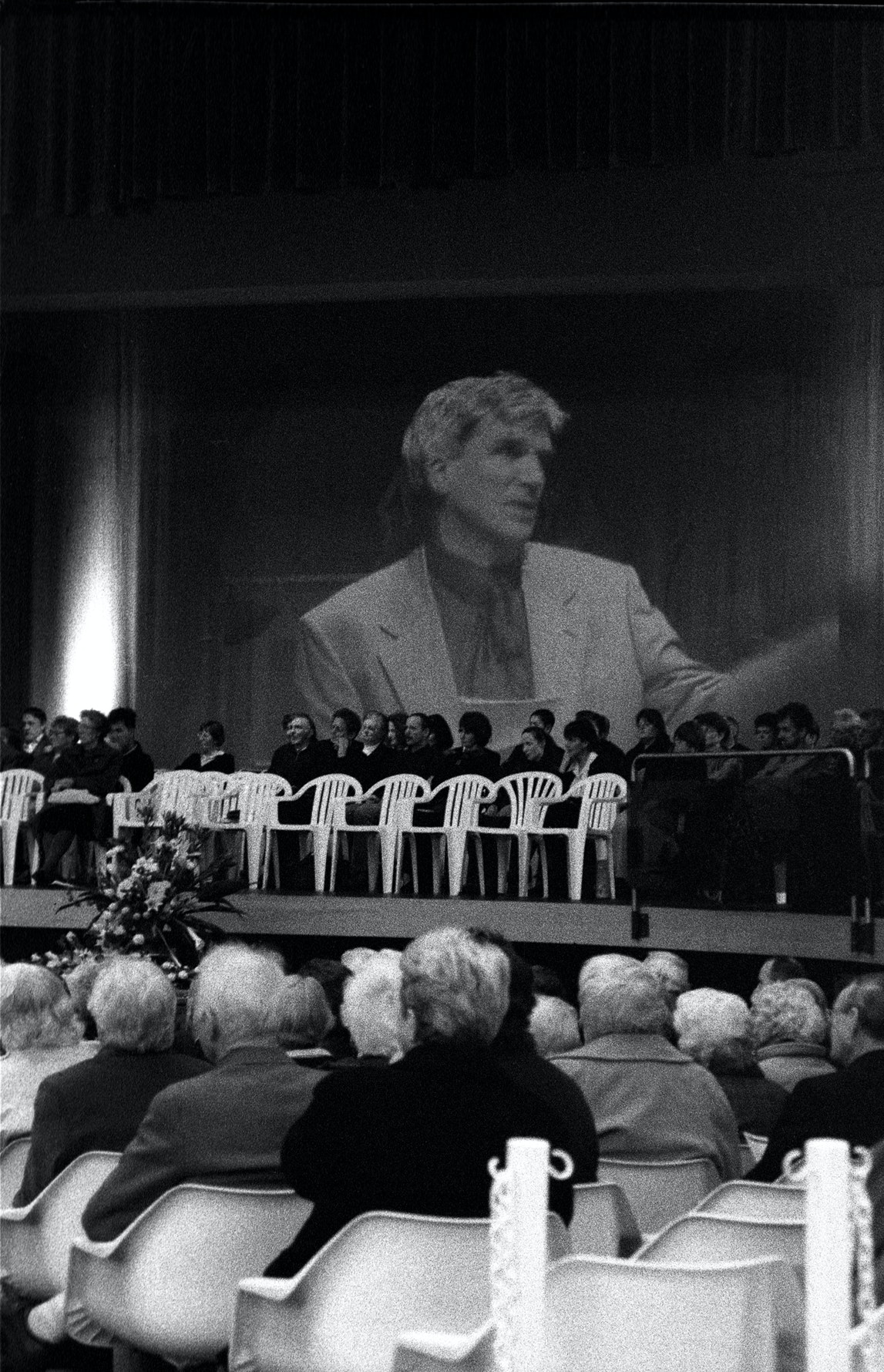 Pastor Max speaking at the funeral of Peter Morrow  (1930 to 2001) City New Life Church