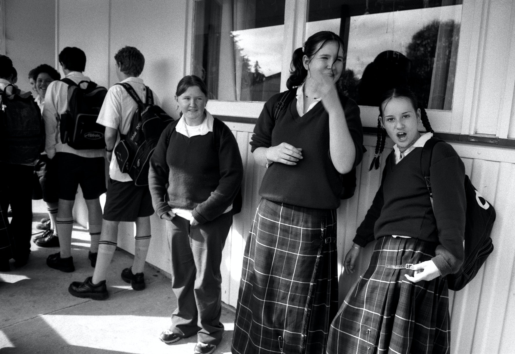 Students waiting for class, Aranui High School