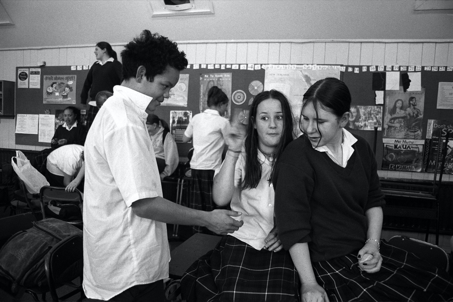 Students, end of term class party, Aranui High School