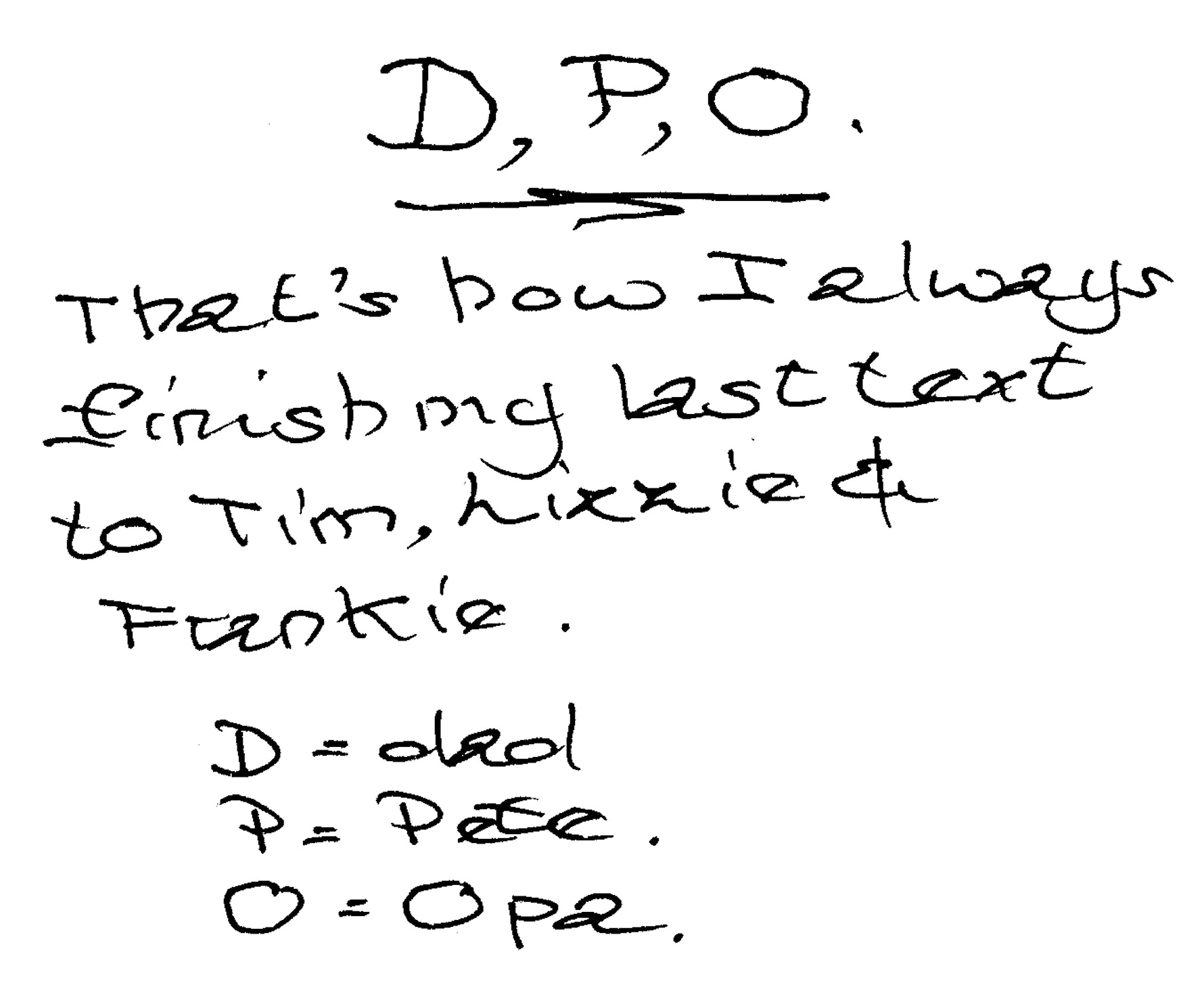 Note from Peter Veling's diary.