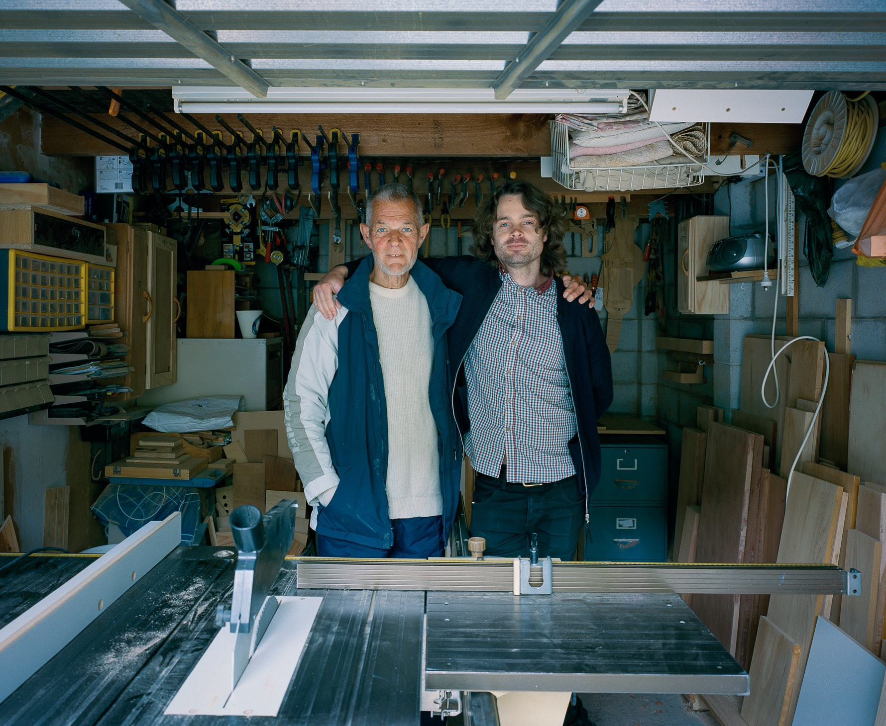 Peter and Tim Veling in Peter's workshop, 13/11/2014.