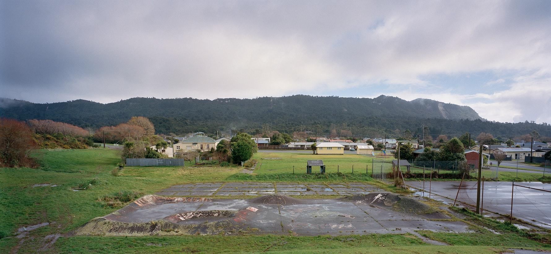 Runanga 'skate park', looking toward Rapahoe Range, 2015