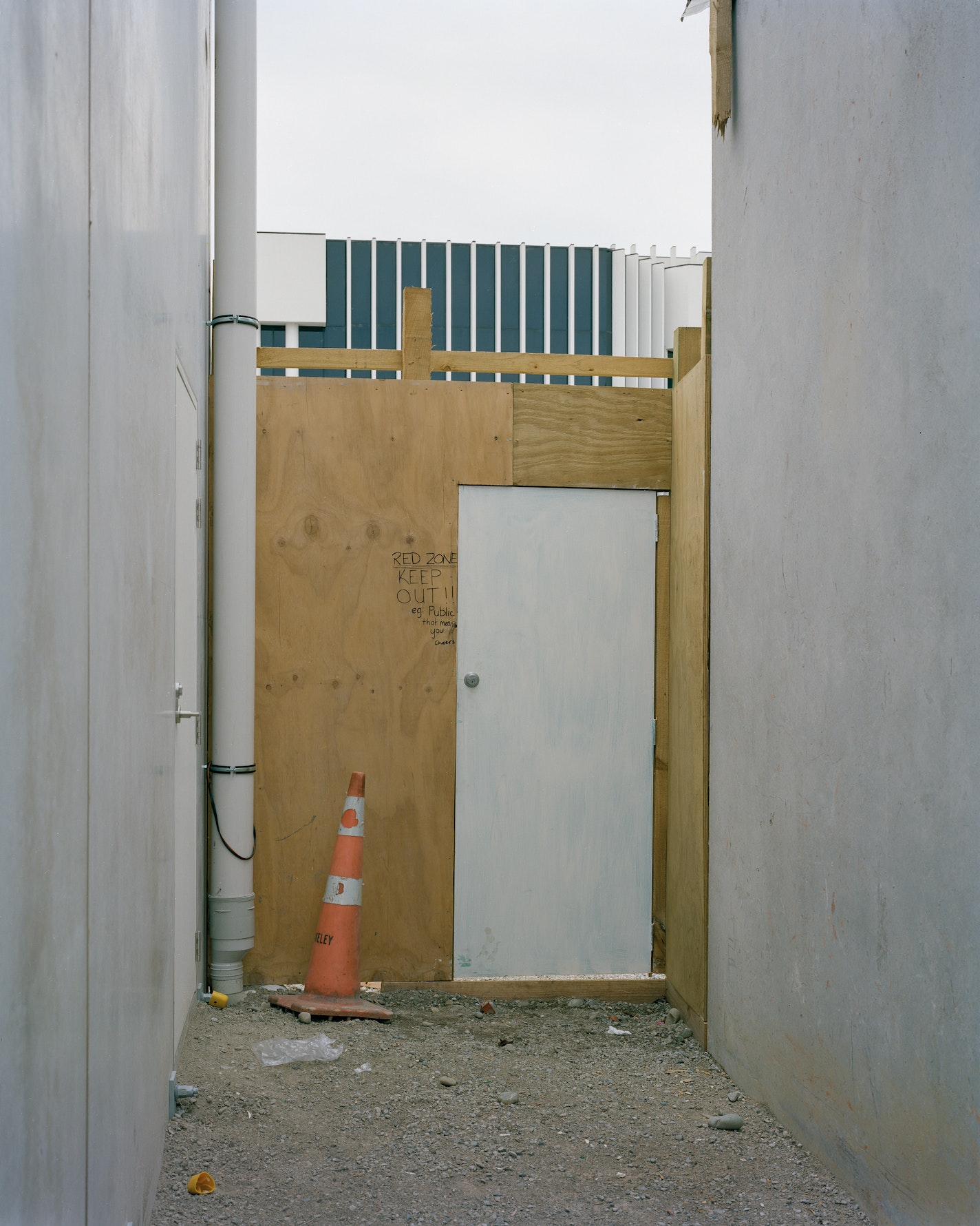 """Red Zone Keep Out!!! E.g. Public that means you, cheers"", Re:Start Mall, Cashel Street, 2011."