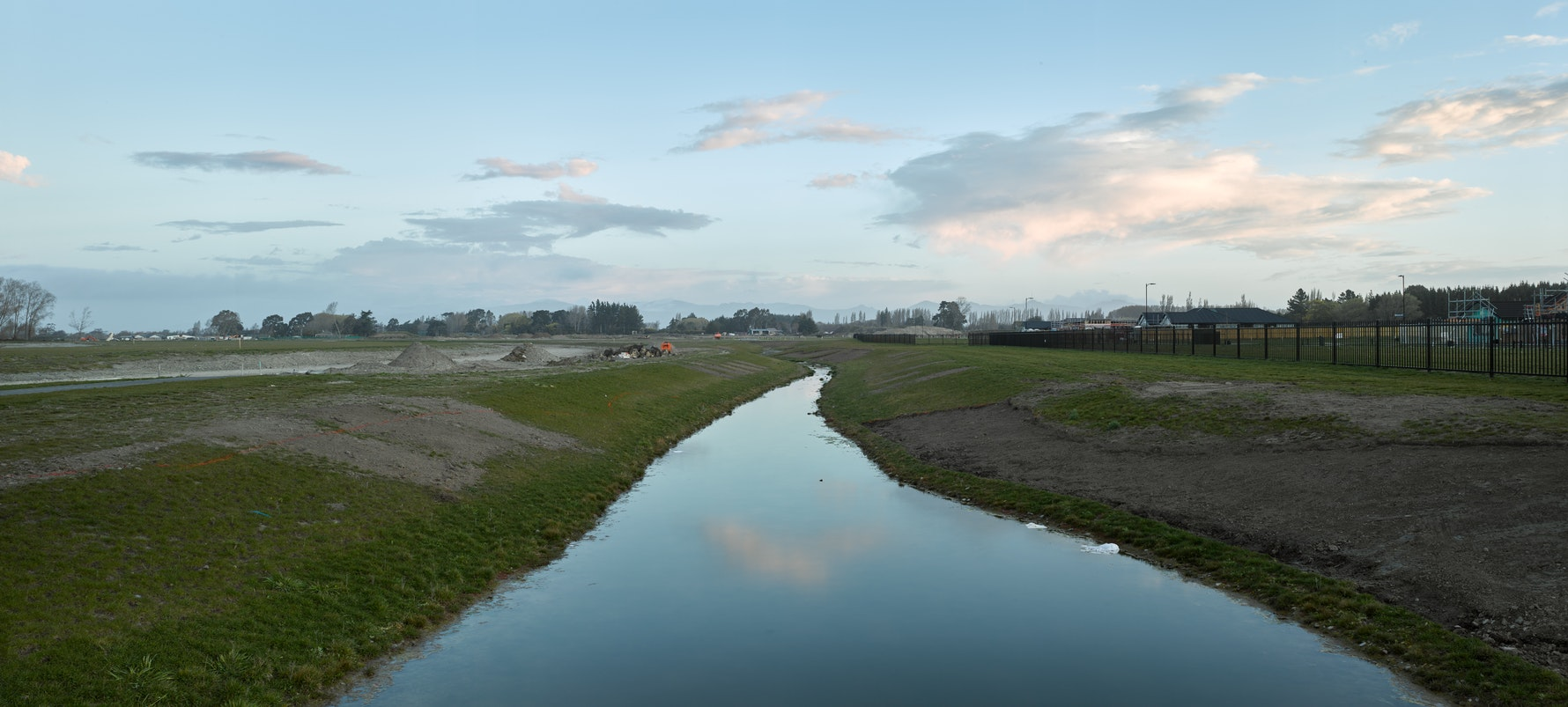 Prestons Park Subdivision, Prestons Park Drive, 2016. Facing South along water drainage channel of former marshlands.