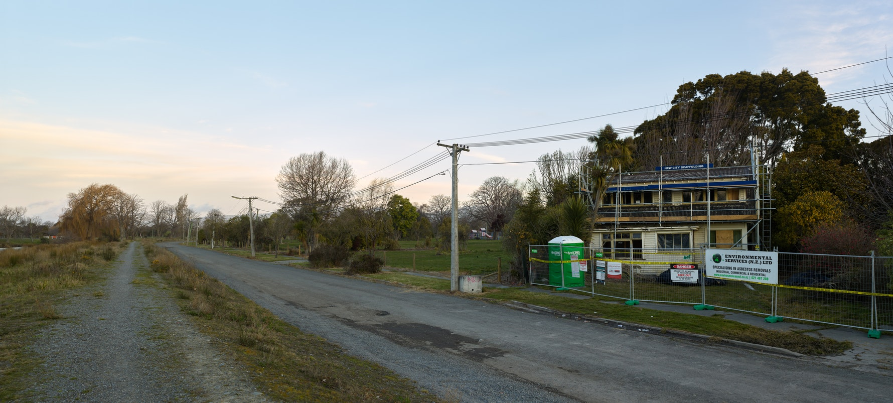 Avonside Drive, 2016. Catherine Allen's house during asbestos removal and demolition.