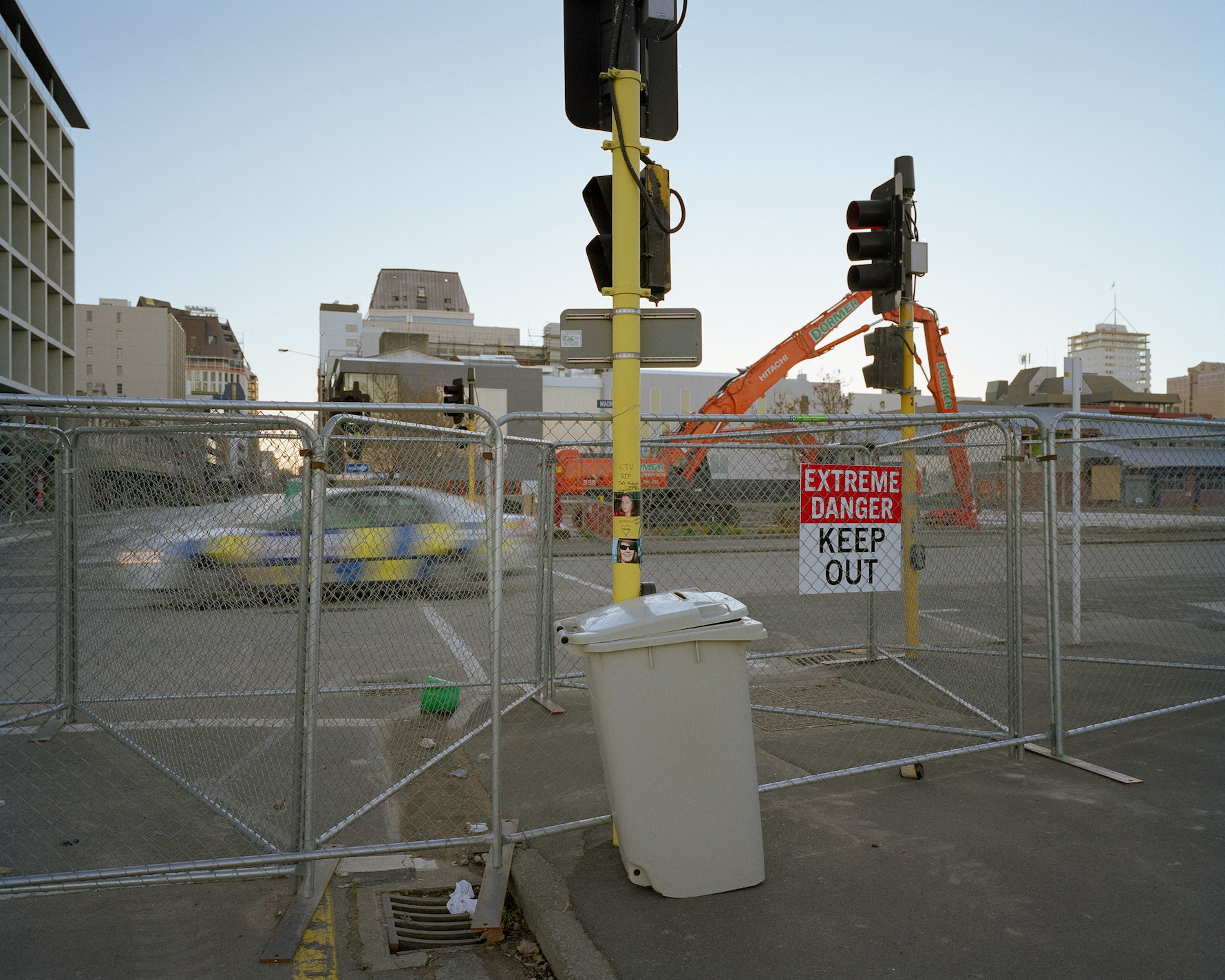 Towards CTV building site. Corner of Madras and Cashel Streets. Facing west.