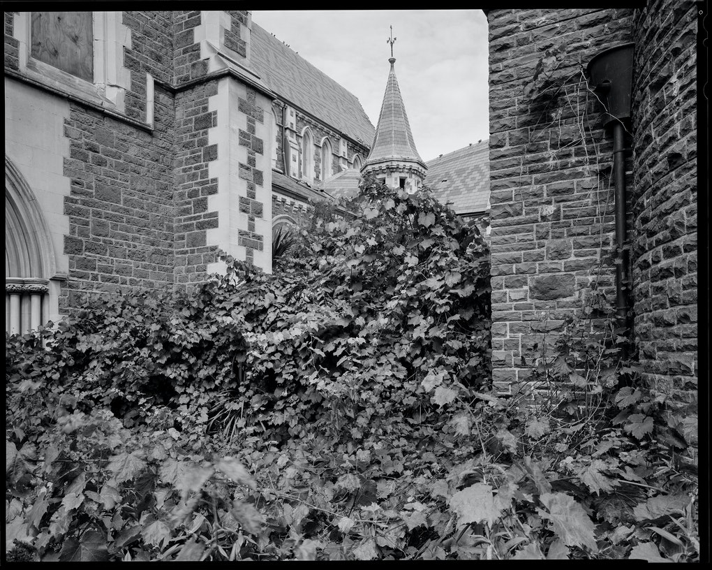 """North enterance within cordoned off grounds of Christ Church Cathedral. Scanned from 8x10"""" negative."""