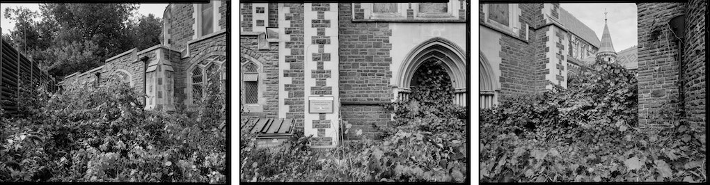 """North enterance within cordoned off grounds of Christ Church Cathedral.180 degree triptych scanned from 8x10"""" negatives."""