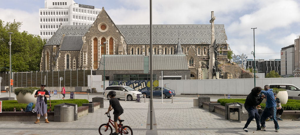 Towards north-facade of Christ Church Cathedral, pictured from south enterance of Turanga library.
