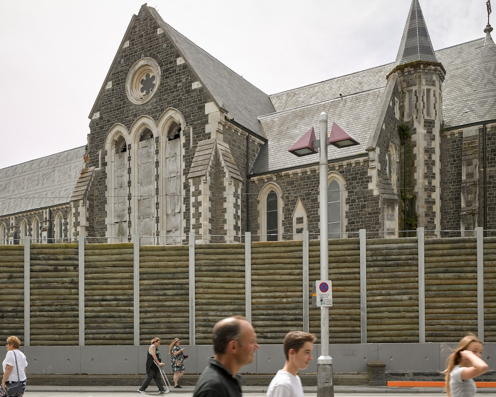 Towards the south facade of ChristChurch Cathedral, from Cathedral Square.